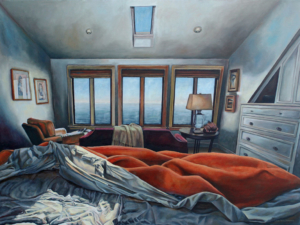 "Between The Sheets • 30"" x 40"", oil on linen"