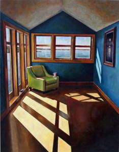 "Room Full of Blues • 18"" x 14"", oil on panel"