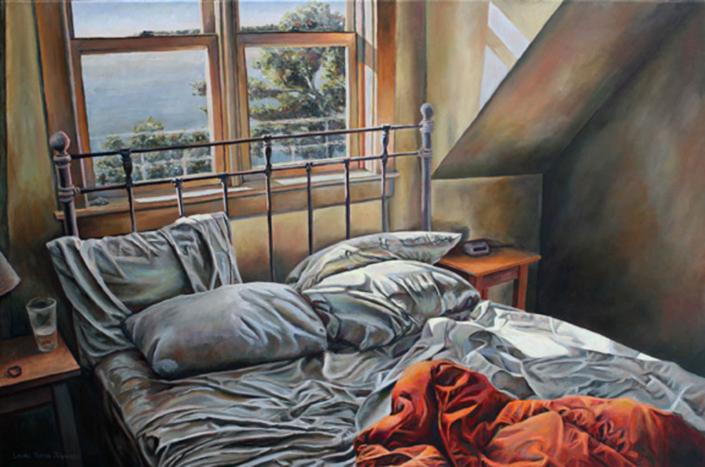 """Sunny Nest • 24"""" x 36"""", oil on linen"""