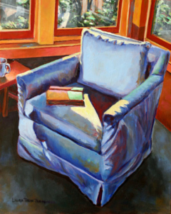 "The Blue Chair • 10"" x 8"", oil on panel"