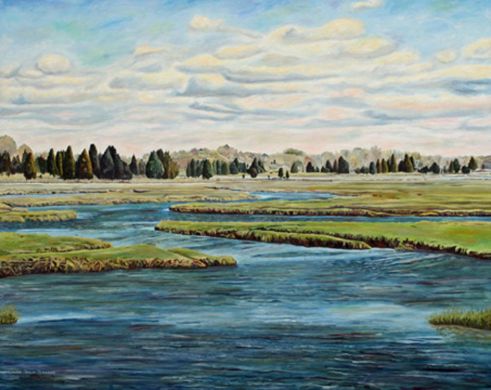 "Blue Water Marsh 36"" x 48"", oil on canvas"