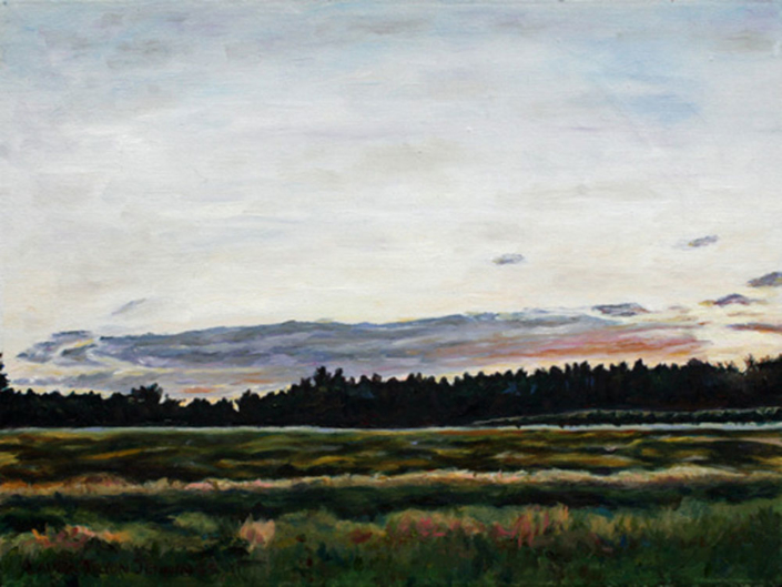 "Maine Turnpike Sunset #1 • 9"" x 12"", oil on linen"
