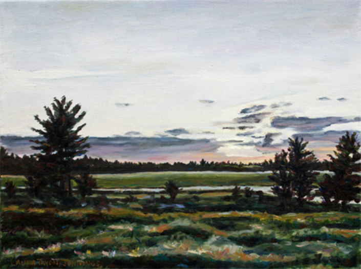 "Maine Turnpike Sunset #2 • 9"" x 12"", oil on linen"