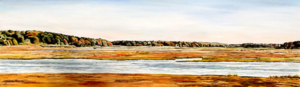 """North River Marsh • 12 and 1/2"""" x 40"""", oil on paper"""