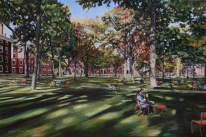 "Harvard Yard Sojourn • 24"" x 36"", oil on linen"