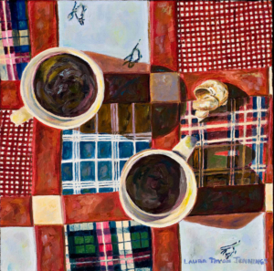 """Coffee in Pajamas • 12"""" x 12"""", oil on canvas"""