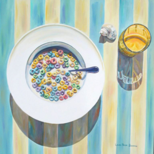 "Froot Loops • 24"" x 24"", oil on board"