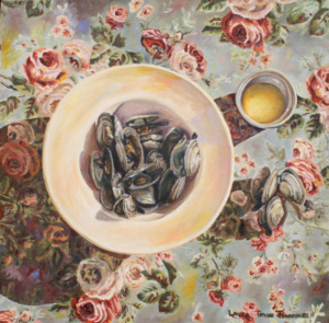 "Steamers and Butter • 16"" x 16"", oil on canvas"