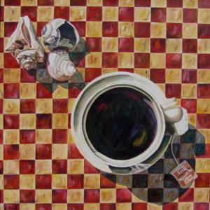 "Tea By the Sea • 36"" x 36"", oil on canvas"